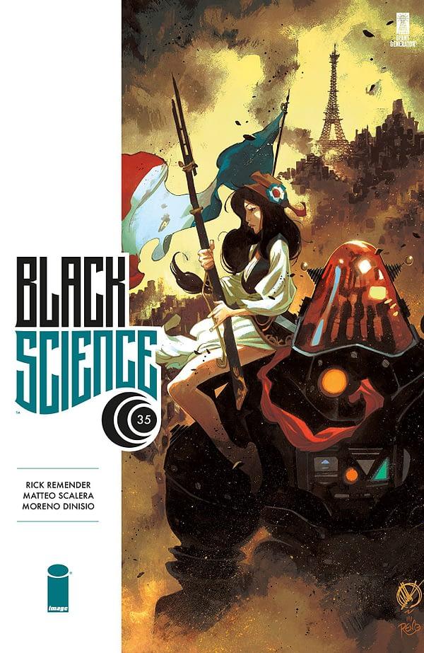 Black Science #35 cover by Matteo Scalera and Moreno Dinisio