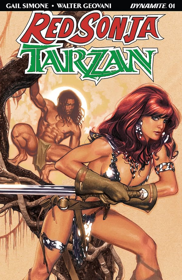 Red Sonja/Tarzan #1 cover by Adam Hughes