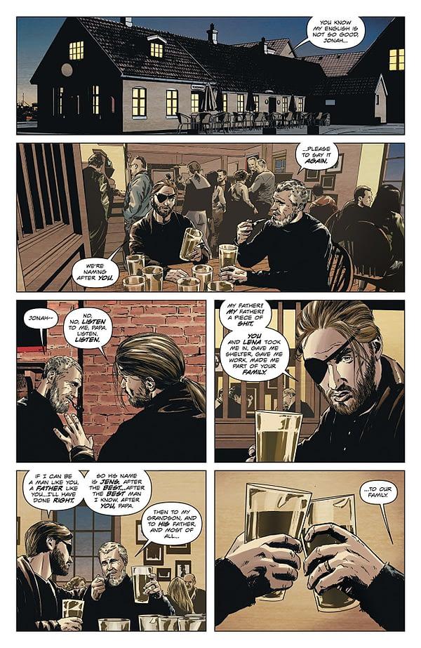 Lazarus #28 art by Michael Lark, Tyler Boss, and Santi Arcas