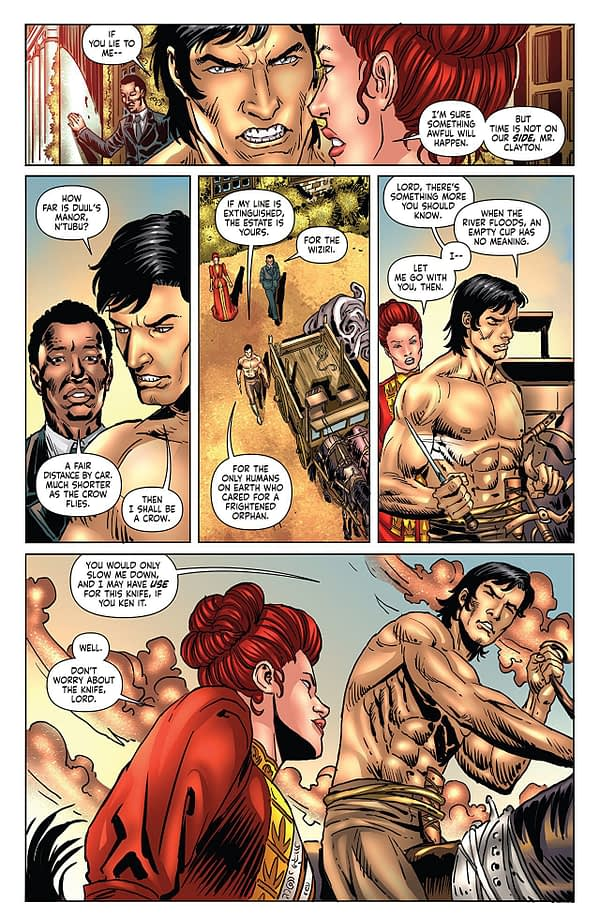 Red Sonja/Tarzan #2 art by Walter Geovani and Adriano Augusto