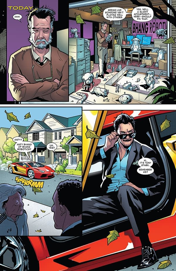 Tony Stark: Iron Man #1 art by Valerio Schiti and Edgar Delgado