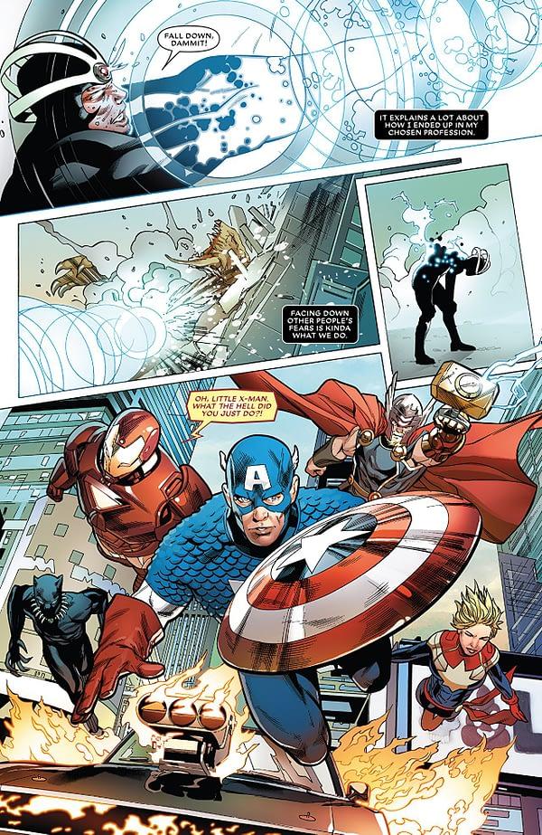 Astonishing X-Men #13 art by Greg Land, Jay Leisten, and Frank D'Armata