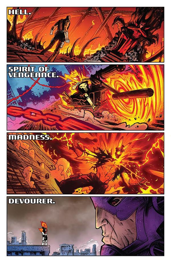 Cosmic Ghost Rider #1 art by Dylan Burnett and Antonio Fabela