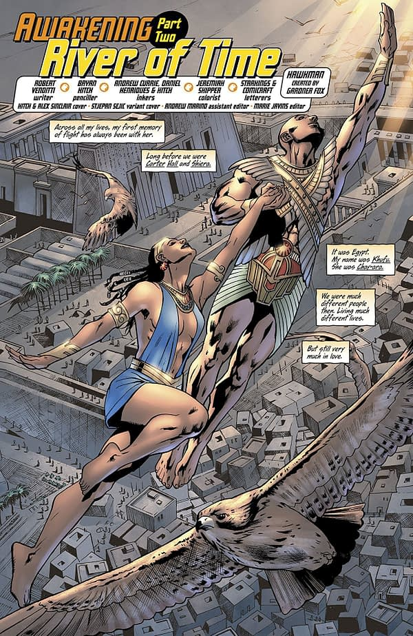 Hawkman #2 art by Bryan Hitch, Daniel Henriques, Andrew Currie, and Jeremiah Skipper