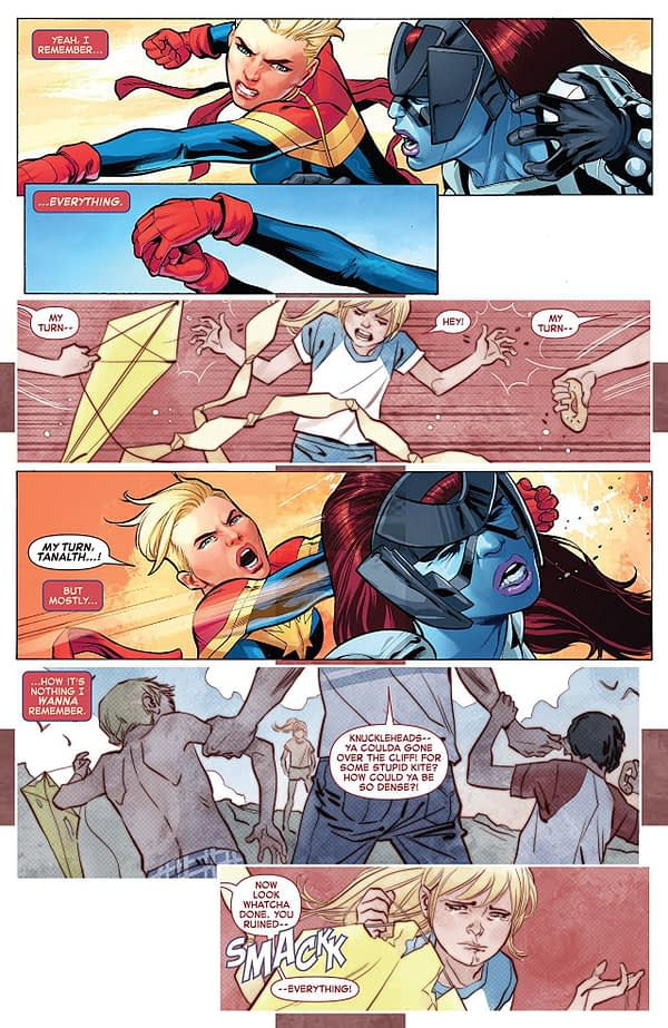 The Life of Captain Marvel #1 art by Carlos Pacheco, Marguerite Sauvage, Rafael Fonteriz, and Marcio Menyz