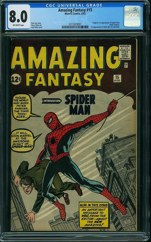 Amazing Fantasy #15 CGC 8.0 Comiclink sale for 261,010