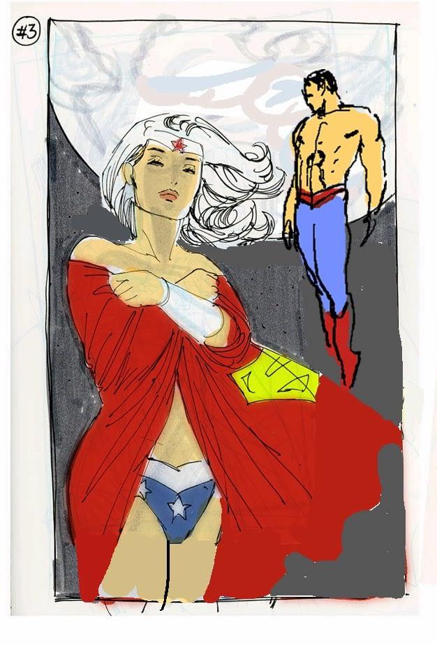 Superman Wonderwoman 3 variant - sketch 5