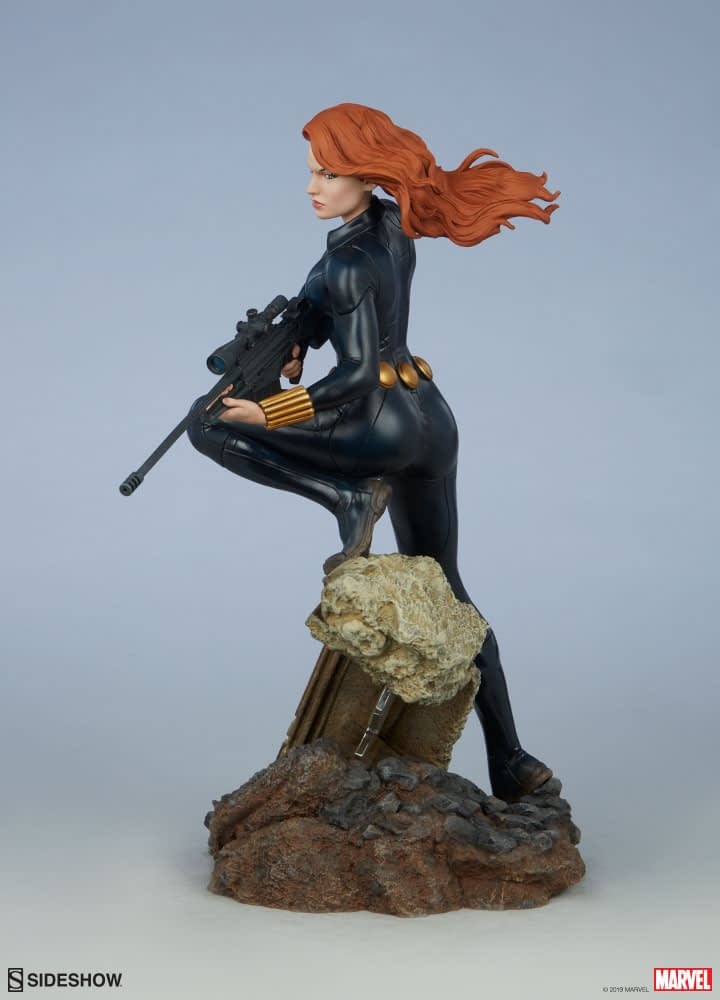 Black Widow Takes Aim in the New Sideshow Collectible Statue