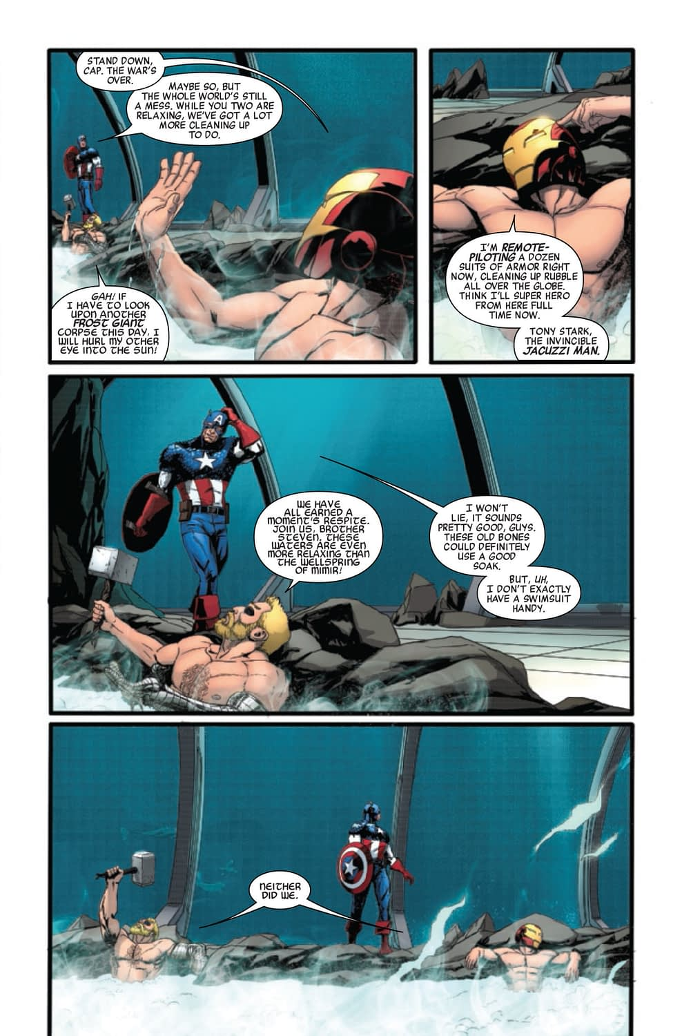 Avengers #21: Thor Plays With His Hammer in the Hot Tub While Iron Man Watches [Preview]