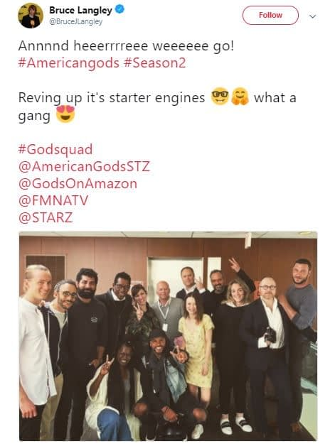 american gods season 2 production starts