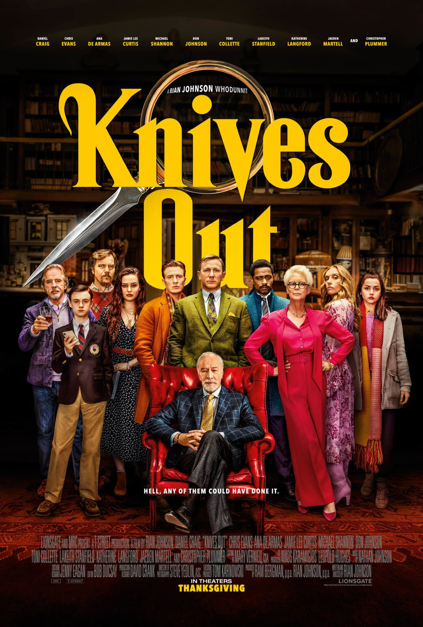 """New Trailer and Poster for Rian Johnson's """"Knives Out"""""""